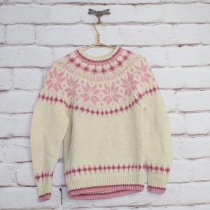 Vintage Eddie Bauer Wool Snowflake Sweater Pink L